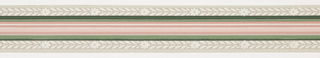 Pink and green banding through center with foliage and floral band on either side with gray stripes on ends on gray ground. Matching ready-pasted border.