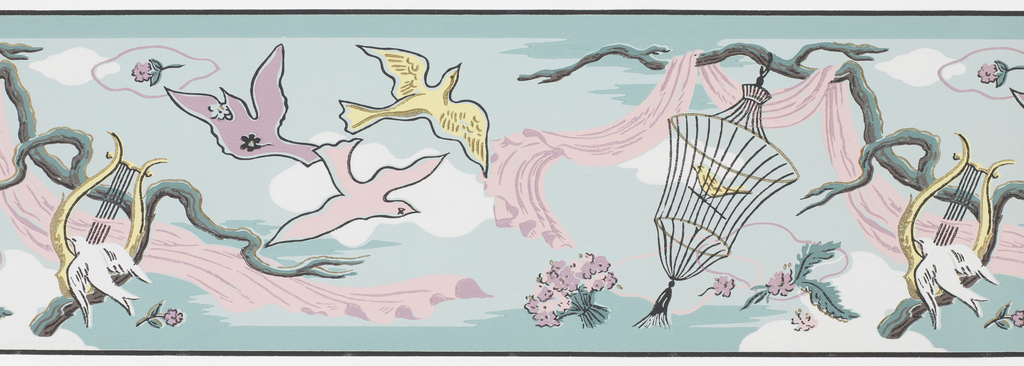 Surrealist scene: composed of varying sized birds, one group of three birds flying, one smaller bird sitting on harp, and another bird in a cage. A large branch, suspended in mid-air, supports the harp and a long flowing drapery, as well as the birdcage. Printed in mauve, black, yellow and white on blue ground.