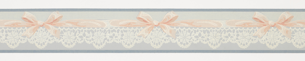 Pink ribbon with bows over white lace between blue bands on blue ground. Matching ready-pasted border.