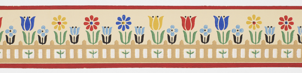 Stylized flowers (tulips, daisies?) in red/yellow/blue behind brown picket fence between red bands, on off-white ground. Matching ready-pasted border.