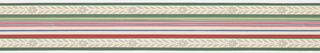 Green, red, blue banding through center with foliage and floral band on either side with green stripes on ends on off-white ground. Matching ready-pasted border.