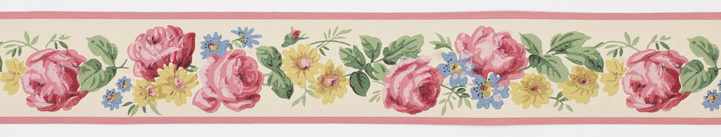 Central floral motif in red/blue/yellow centered between pink bands on off-white ground. Matching ready-pasted border.