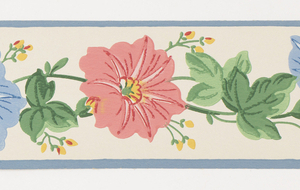 Morning glories in pink/yellow/blue with green leaves between blue bands on off-white ground. Matching ready-pasted border.