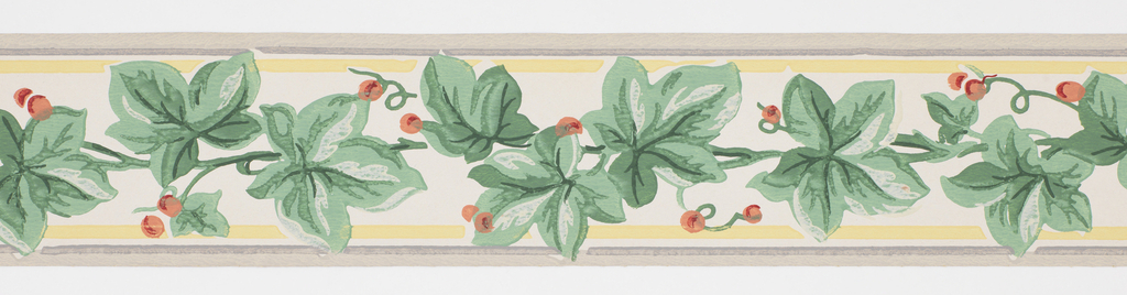 Green foliage with red berries between bands of yellow and gray, on off-white ground. Matching ready-pasted border.