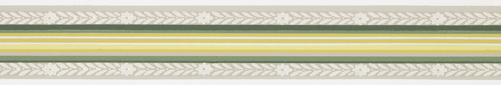 Green, yellow central banding with foliage and floral band on either side with gray stripes on ends on gray ground. Matching ready-pasted border.