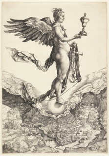 The winged nude figure of a woman, standing, facing right, in profile; she holds a covered vessel in her right hand, a bridle in her left, and stands on a globe; view of a town below.
