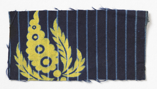 Yellow flowers and leaves on blue striped background.