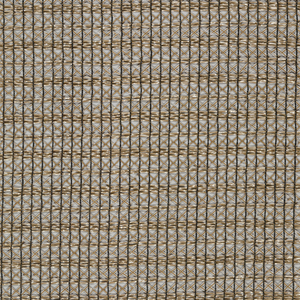 Tan and black non-woven openwork casement fabric. A square grid, one row filled with horizontal yarns followed by two rows filled with X's. Finished edge on one side.