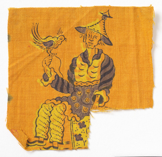 Seated gentleman in Chinese costume holding a bird in one hand.