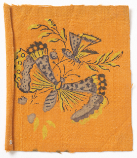 Butterfly in yellow and mauve on orange background.