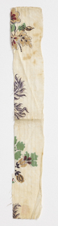 Long and narrow fragment with parts of floral pattern in green, brown, lavendar and black.