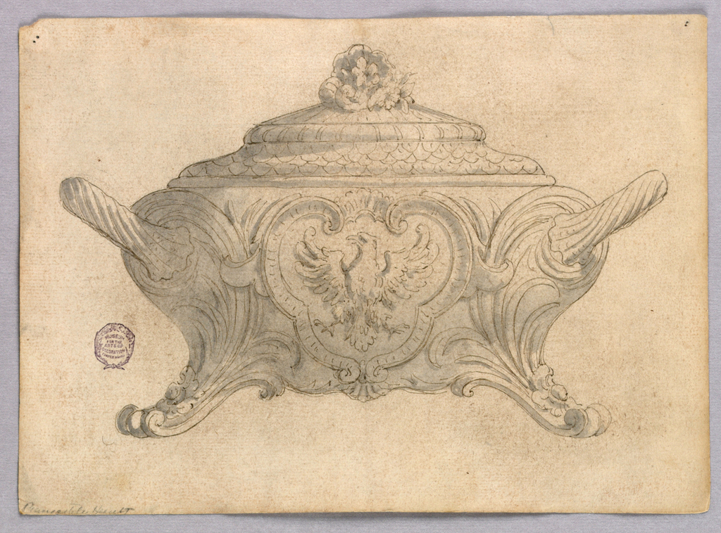 Elevation of a tureen with scrolling feet. Body decorated with a cartouche enclosing an eagle. Floral finial.