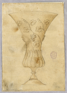 Design for a footed glass with lobed base and flaring lip decorated with grape vines.