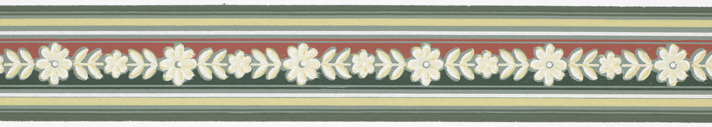 Off-white/green floral band over red/green with green/white bands on green ground. Matching ready-pasted border.