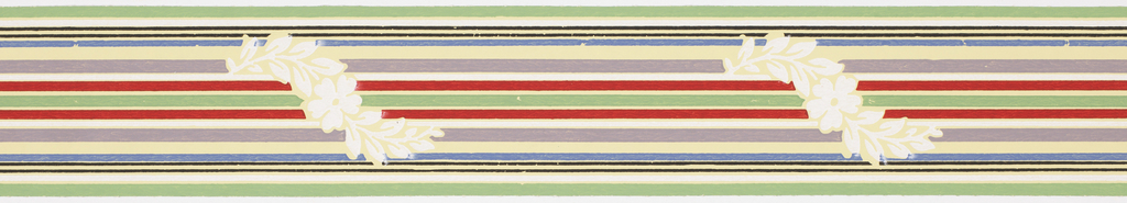 Thin multi-colored banding with interrupted meandering white floral motif on yellowish ground. Matching ready-pasted border.