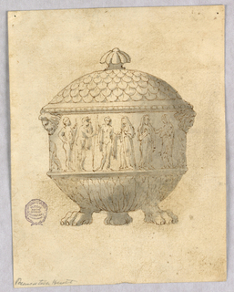 Elevation of a tureen with paw feet. Lower body decorated with leaves; upper body with a frieze of classical figures. Mask handles. Lid decorated with scales and a lobed finial.
