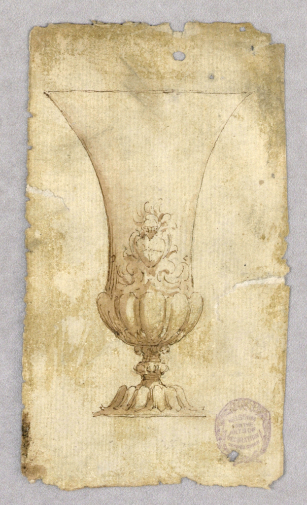 Design for a wide-lipped cup. At bottom, gadrooning. Coast-of-arms surrounded by scrolls.