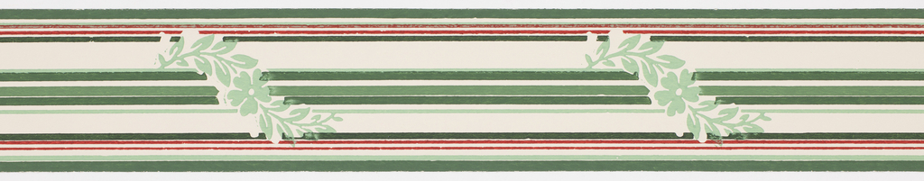 Thin multi-colored banding with interupted meandering green floral motif green end and center stripes on off-white ground. Matching ready-pasted border