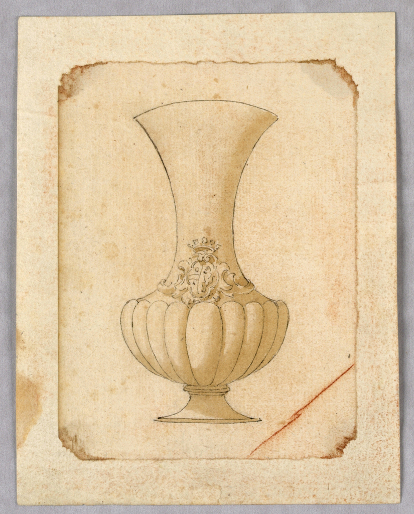 Vertical rectangle showing a vase with gadrooning and a heraldic crest.