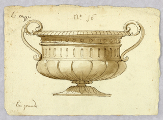 Elevation of a bowl with handles and gadrooning at the base.