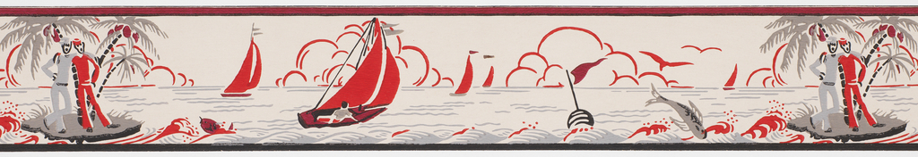 Red sailboats alternating with sailors on island and jumping fish, on off- white ground. Duro Wall Border.