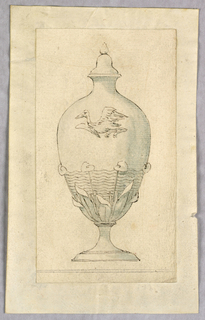 Vertical rectangle showing a covered vase in the Japanese style, with a flying crane.