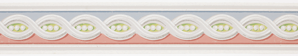 Central guilloche pattern containing three beads on blue/red/green ground with white and gray banding at either side. Matching ready-pasted border.