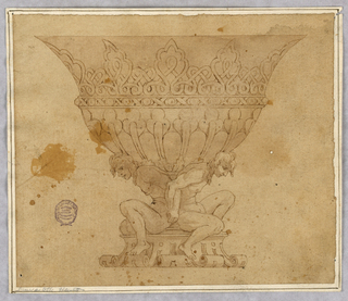 Design for a footed bowl supported by nudes. Scrolling foot and interlace decoration below lip.
