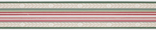 Green, pink, white central banding with foliage and floral band on either side with green stripes on ends on gray ground. Matching ready-pasted border.