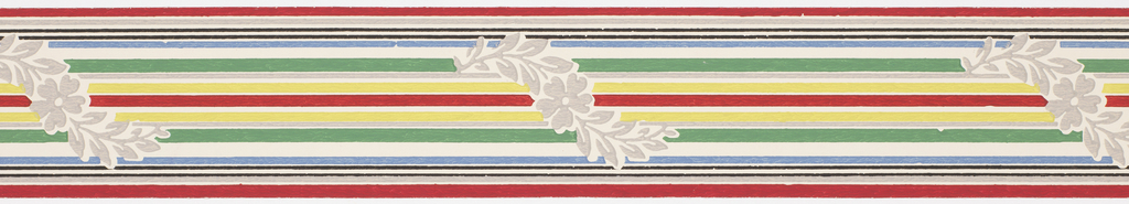 Thin multi-colored banding with interrupted meandering gray floral motif and center stripes on white ground. Matching ready-pasted border.
