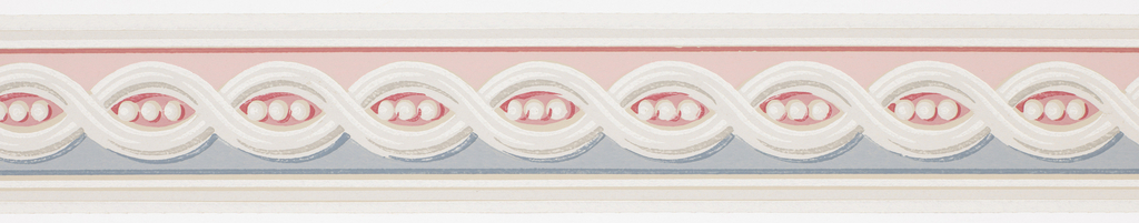 Central guilloche pattern containing three beads on blue/red ground with white and gray banding at either side. Matching ready-pasted border.