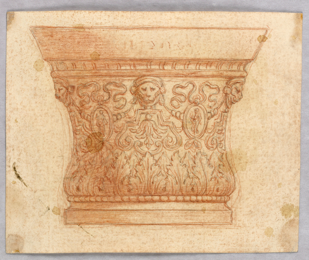 Elevation of a bowl with symmetrical decoration of lion's masks, ribbons, medallions and acanthus leaves.