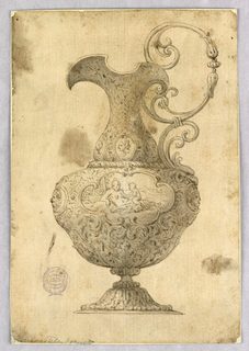 Design for an ewer with a scrolling handle. Allover floral decoration. Portrait medallions at base of neck and lobed cartouche with mythological figures at center of body.