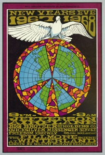 Poster featuring graphic of Earth divided into sections with colorful border; a white dove perched above. Text in gold: NEW YEARS EVE / 1967 1968 [below concert information].