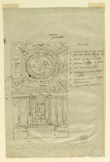 At top, design for a ceiling with panels radiating out from a central oval. Below, a n elevation with an aedicule flanked by drapery. Description at right.
