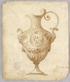A footed ewer, spout facing left. Scroll forms the handle. Sculptural birds ornament each side. Medallion with figures at front. Below this, a garland and gadrooning.