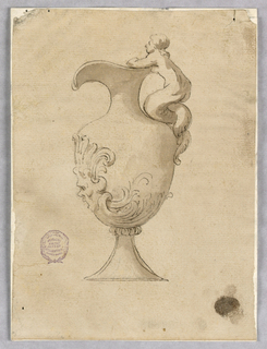 An ewer, spout facing left. A sculptural mermaid forms the handle. A mask with acanthus leaf at base.