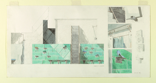 Long horizontal sheet showing multiple views and details of the interior of high-end fashion retail shop Dianne B. Men and Women, which opened in New York City in 1986. Primary illustration at center shows the elevation of an oxidized copper wall with metal stepladder at center. Mounted to various copper plates are geometric mounts that display single examples of women's high heeled shoes. At the floor, two benches surround the ladder, each with three evenly-spaced triangular legs. To the left, detail of metal curtain rod mounting system, possibly concealing dressing room stalls, portion of blue curtain visible. At left edge, a single geometric stool with tripod base that echoes the form of the shoe mounts and round blue upholstered cushion. At right, smaller isolated detail drawings showing, from top to bottom: the metal stepladder with copper railing, mount details, illustrations of the curtain rods, curtains, and doors for dressing room stalls, and details of the triangular shoe mounts on copper wall.