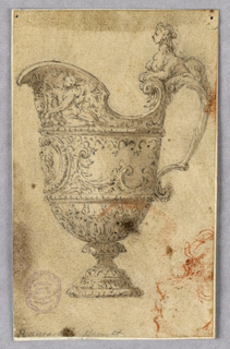 A footed helmet shaped ewer, spout facing left. On its handles it's a sphinx. Bands of floral decoration. Below of the spout, a portrait medallion. In chalk, lower right: a face shown in profile.
