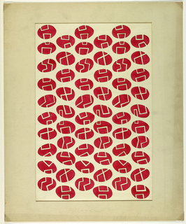 An abstract design playing on solids and voids, shapes versus lines and tricks of the eye.  Horizontal bands of tilted red egg-like ovals inside of which are white linear motifs which connect visually to form a continuous abstract pattern.