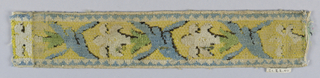 Fragment of a band for a border. Design of flower and branch in white, blue, black, and green loose pile on yellow silk ground. Weft of coarse vegetable fiber.