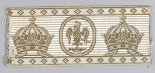 Design of the arms Mexico alternating with French imperial crown set between borders with diamond-shaped ornaments. In brown on a white ground. Probably made for Maximilian, Emperor of Mexico.
