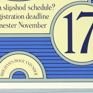 Image of a blue clog on a ground of blue horizontal stripes; information about registration.