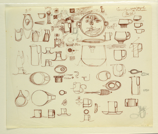 Drawing, Studies of pitchers, cups