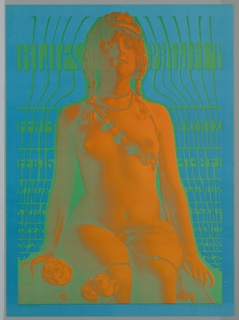 Vertical rectangle. On bright blue ground, a psychedelic image of a nude woman rendered in orange sitting against turquoise background. She wears an elaborate headpiece, and a beaded strap diagonally across her chest. Her beading necklace cascades in a strand down her body and across her legs. Roses to the left. Green text.