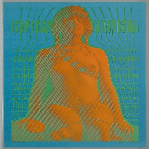 Vertical format. On bright blue ground, a psychedelic image of a nude woman rendered in orange sitting against turquoise background. She wears an elaborate headpiece, and a beaded strap diagonally across her chest. Her beaded necklace cascades in a strand down her body and across her legs. Roses to the left. Green text.