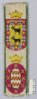 A crowned shield showing two goats in black on yellow ground surrounded by compartments containing, alternately, a castle and a cross; crowned oval showing bands of checkerboard within a border with crosses, in red and yellow.