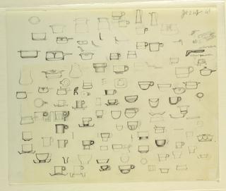 Drawing, Studies of cups, pots, pi