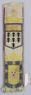 Two crowned shields; one shows seven bees under three crosses, and the other show a sun-face within a border with stars (?) in blue, pink, yellow, and black on white.