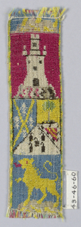 Trimming for livery, divided in to three horizontal sections: the top section shows a castle in white on red ground; the center section a coat of arms in several colors; and the bottom section a rampant lion in yellow on a blue ground.